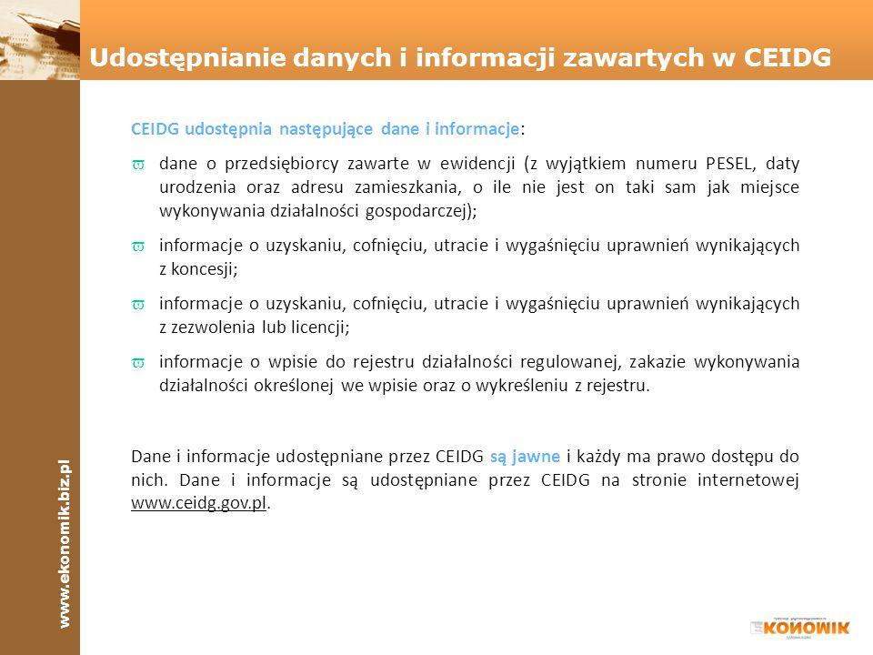 Udostępnianie danych i informacji zawartych w CEIDG