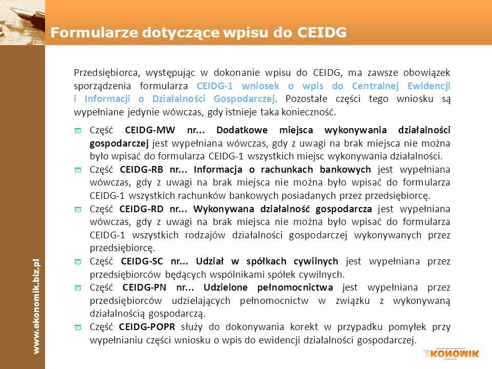Formularze dotyczące wpisu do CEIDG