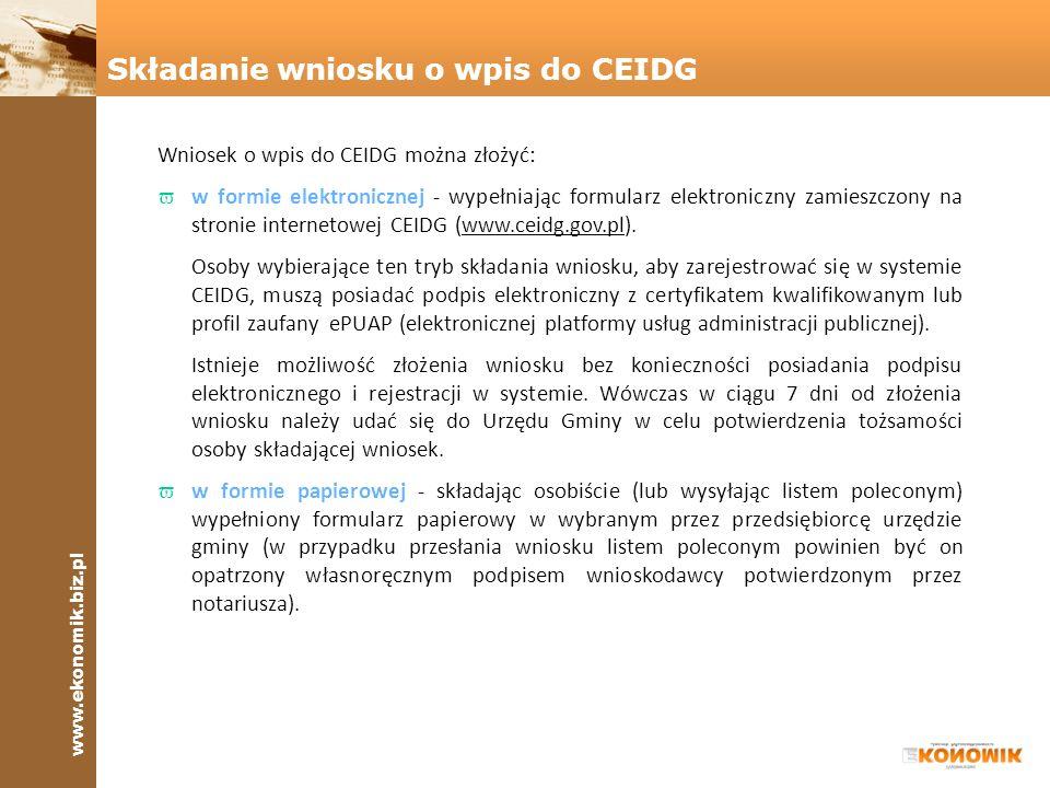 Składanie wniosku o wpis do CEIDG