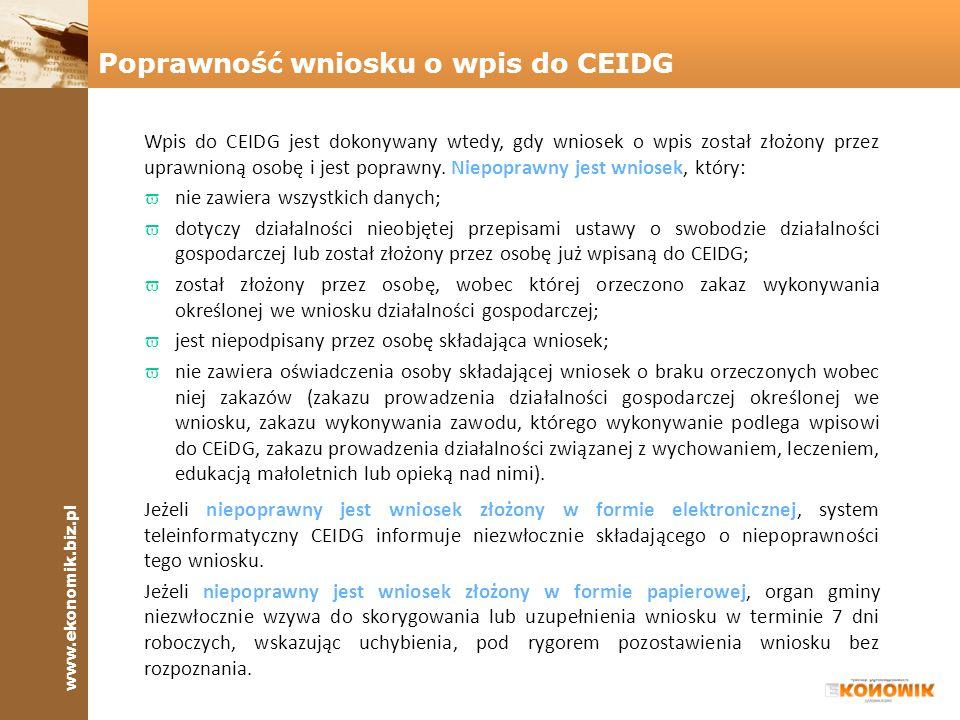 Poprawność wniosku o wpis do CEIDG