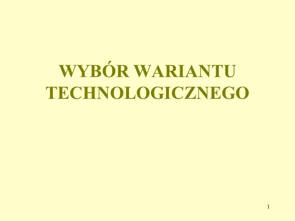 WYBÓR WARIANTU TECHNOLOGICZNEGO