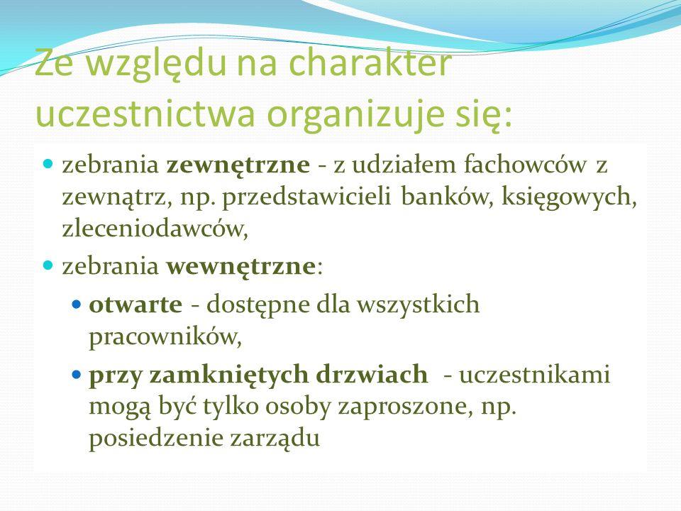 Ze względu na charakter uczestnictwa organizuje się: