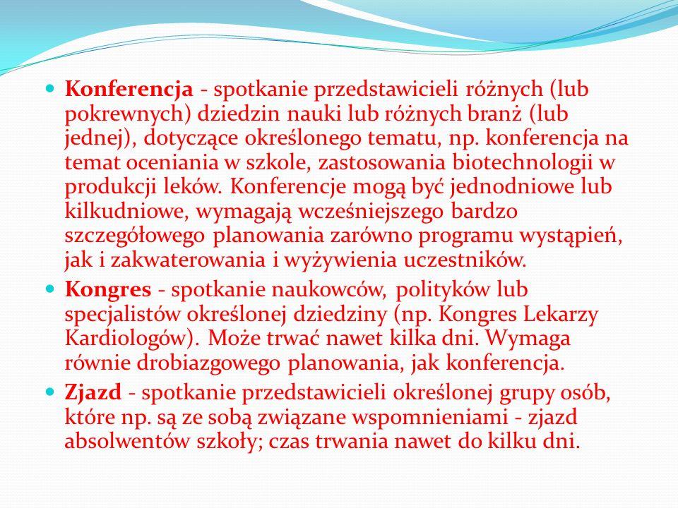 Konferencja - spotkanie przedstawicieli różnych (lub pokrewnych) dziedzin nauki lub różnych branż (lub jednej), dotyczące określonego tematu, np. konferencja na temat oceniania w szkole, zastosowania biotechnologii w produkcji leków. Konferencje mogą być jednodniowe lub kilkudniowe, wymagają wcześniejszego bardzo szczegółowego planowania zarówno programu wystąpień, jak i zakwaterowania i wyżywienia uczestników.