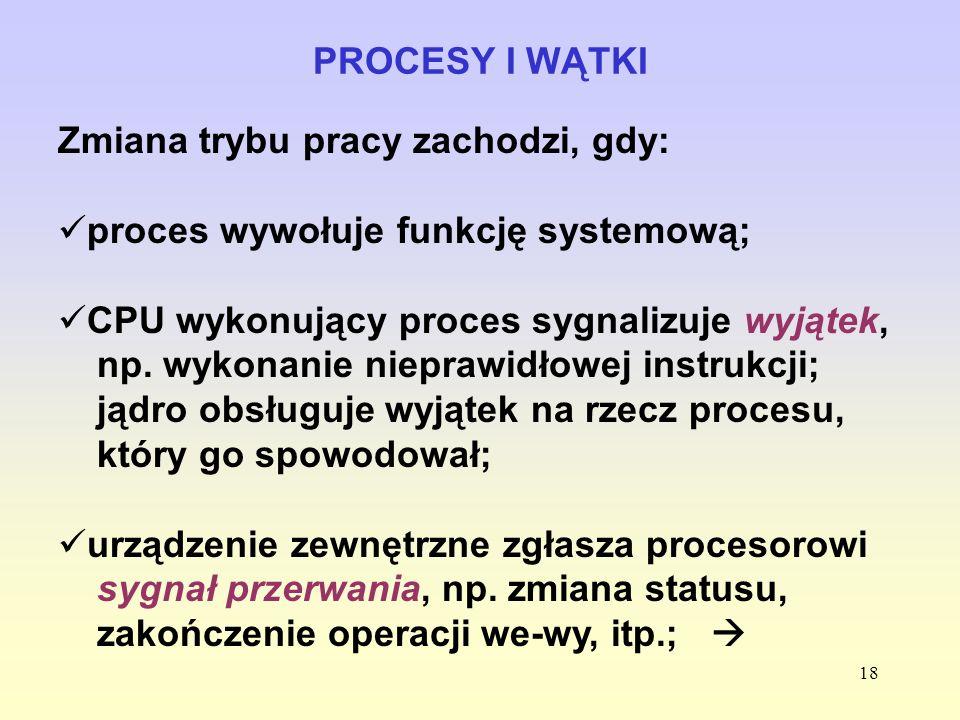PROCESY I WĄTKIZmiana trybu pracy zachodzi, gdy: proces wywołuje funkcję systemową;