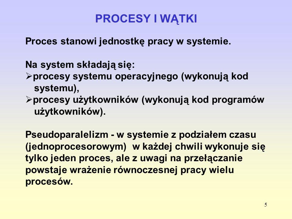 PROCESY I WĄTKI Proces stanowi jednostkę pracy w systemie.