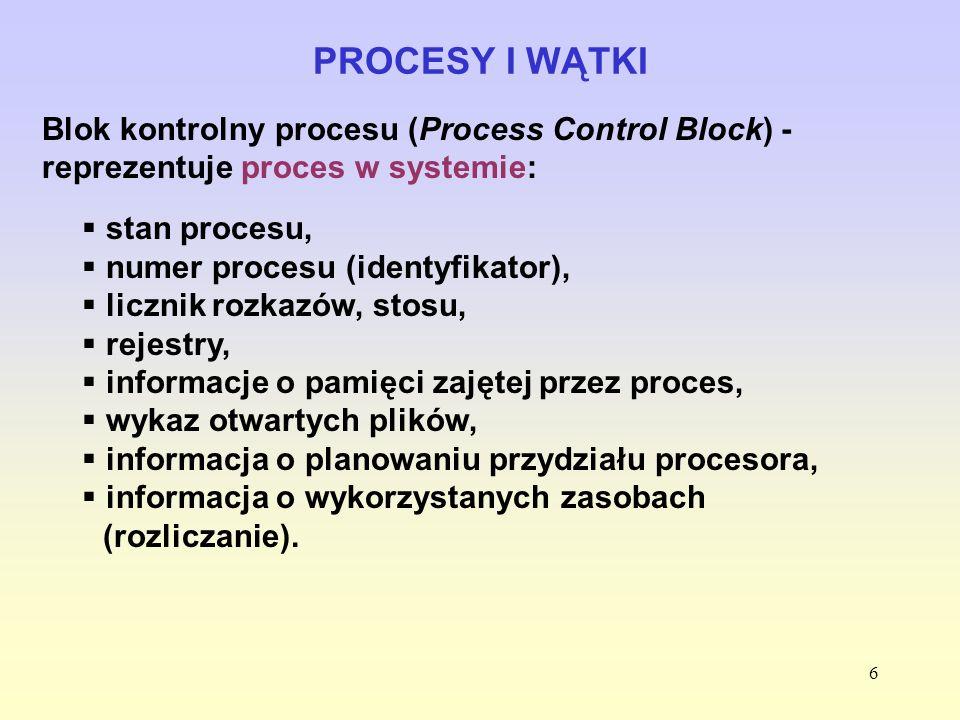 PROCESY I WĄTKIBlok kontrolny procesu (Process Control Block) - reprezentuje proces w systemie: stan procesu,