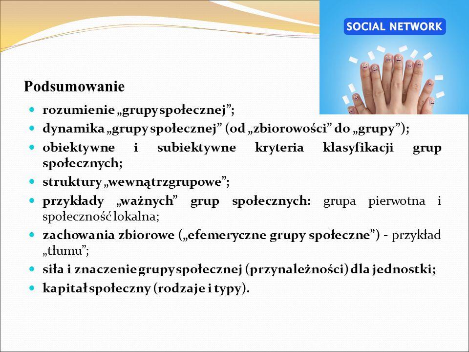 """Podsumowanie rozumienie """"grupy społecznej ;"""