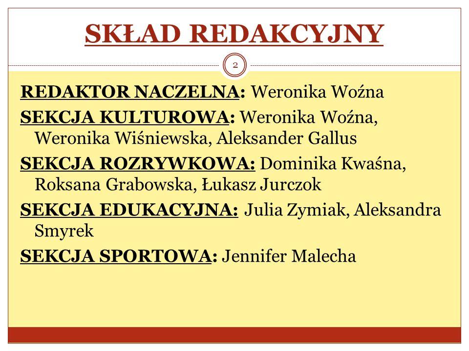 SKŁAD REDAKCYJNY REDAKTOR NACZELNA: Weronika Woźna