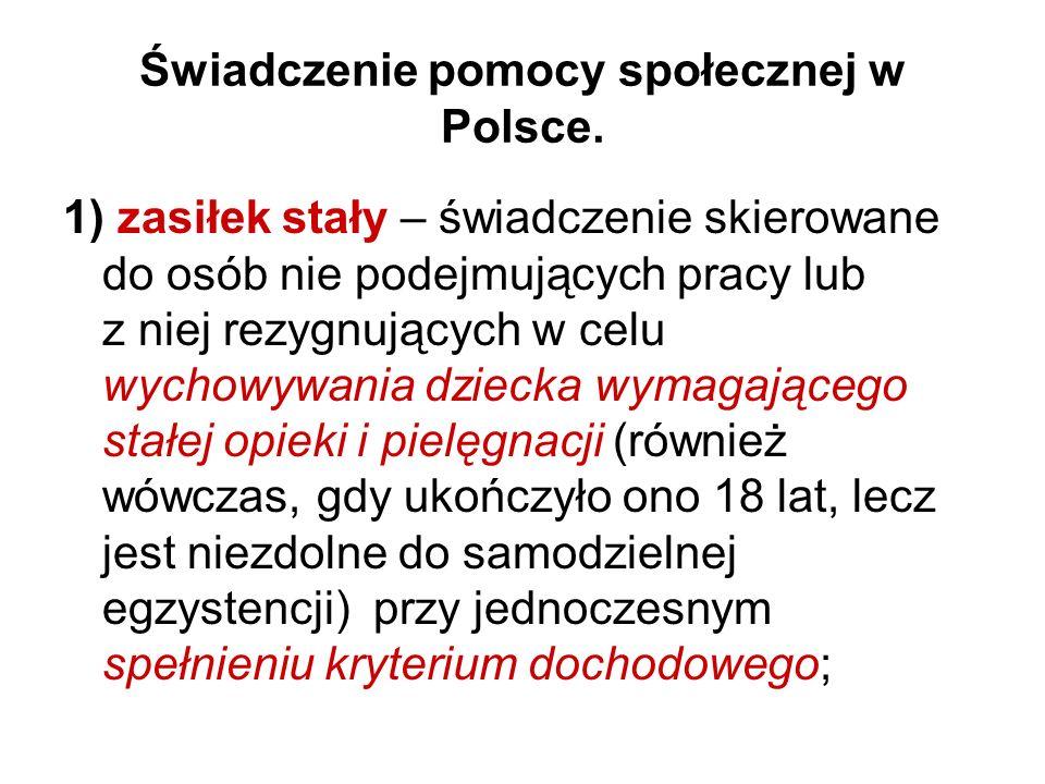 Świadczenie pomocy społecznej w Polsce.