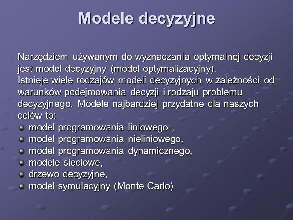 Modele decyzyjne Narzędziem używanym do wyznaczania optymalnej decyzji