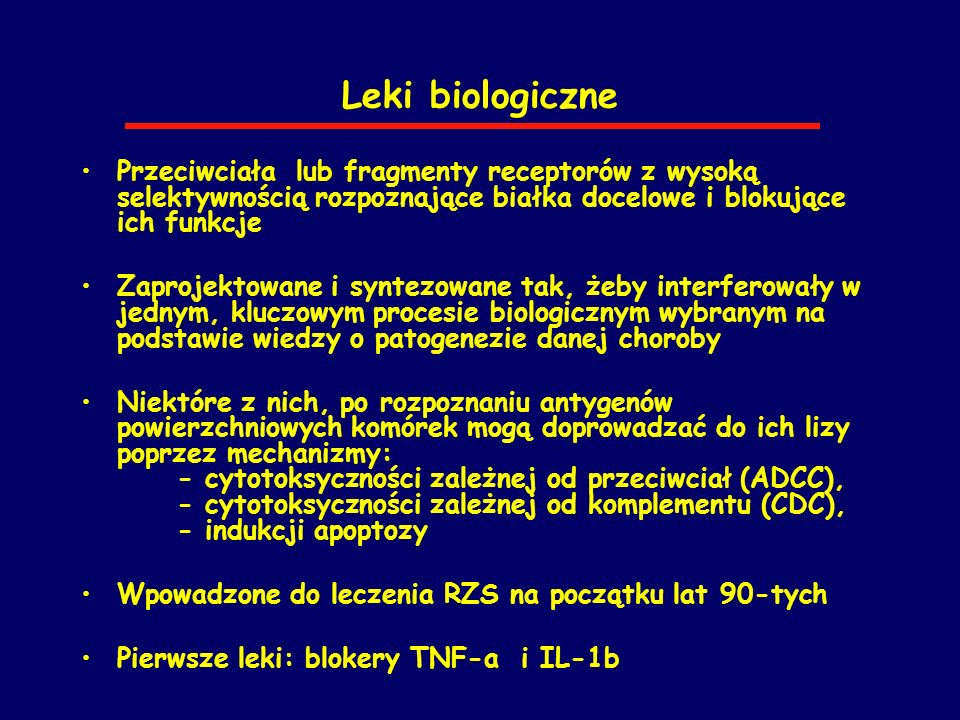 Leki biologiczne Przeciwciała lub fragmenty receptorów z wysoką selektywnością rozpoznające białka docelowe i blokujące ich funkcje.