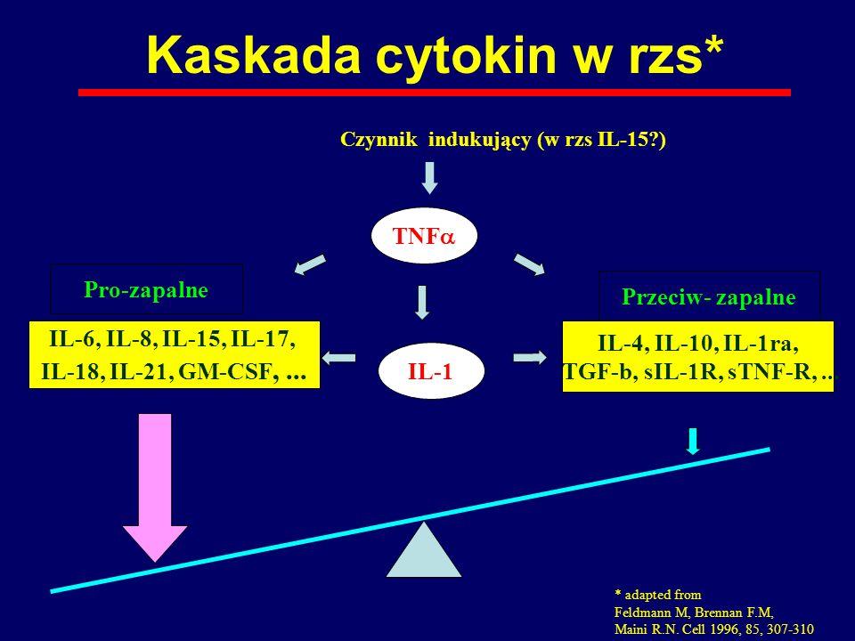 Kaskada cytokin w rzs* TNFa Pro-zapalne Przeciw- zapalne