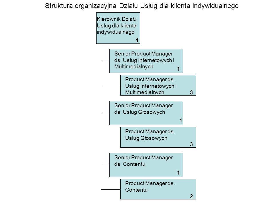 Struktura organizacyjna Działu Usług dla klienta indywidualnego