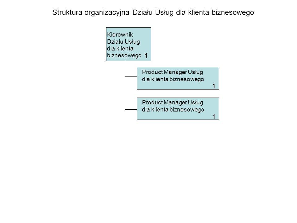 Struktura organizacyjna Działu Usług dla klienta biznesowego