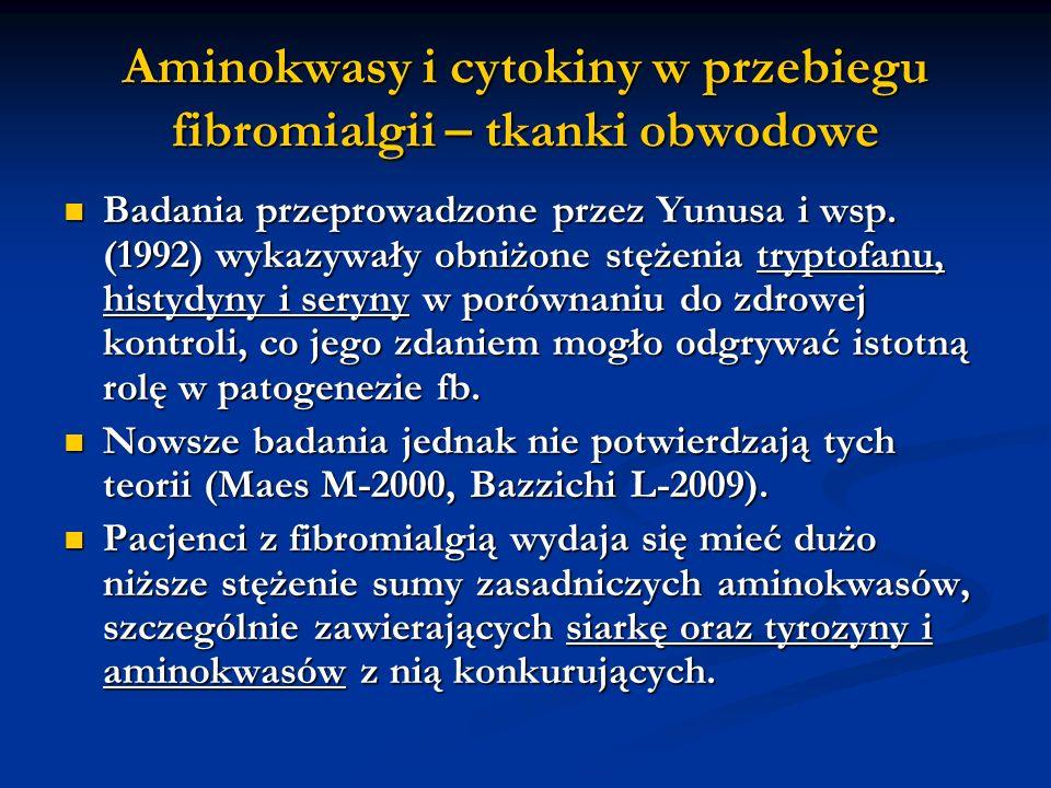 Aminokwasy i cytokiny w przebiegu fibromialgii – tkanki obwodowe