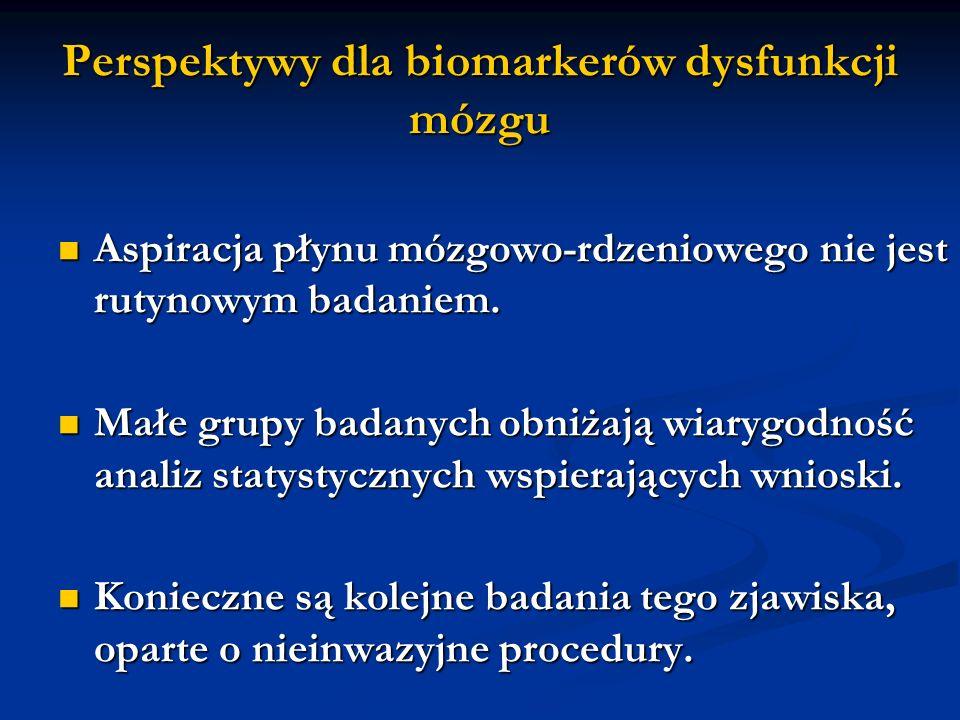 Perspektywy dla biomarkerów dysfunkcji mózgu