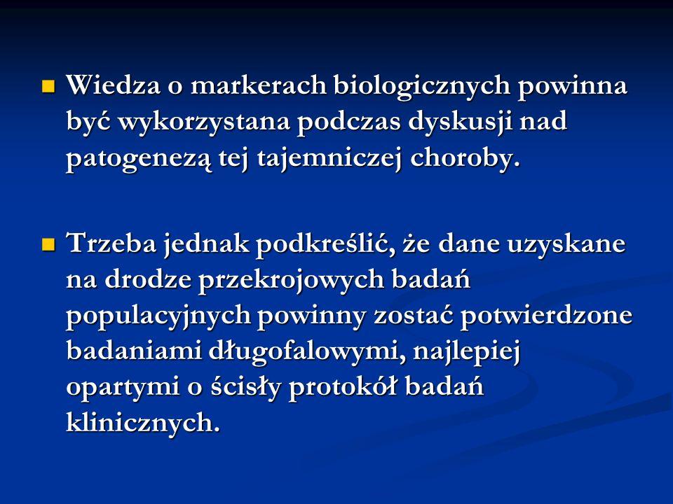 Wiedza o markerach biologicznych powinna być wykorzystana podczas dyskusji nad patogenezą tej tajemniczej choroby.