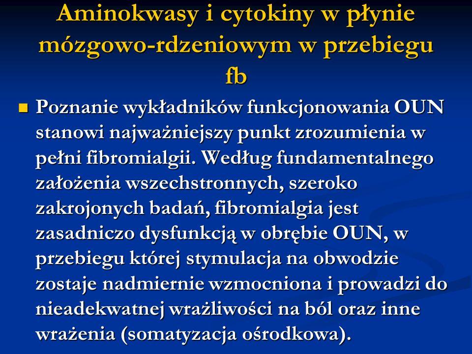 Aminokwasy i cytokiny w płynie mózgowo-rdzeniowym w przebiegu fb