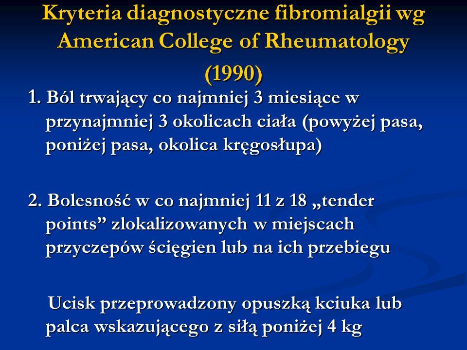 Kryteria diagnostyczne fibromialgii wg American College of Rheumatology (1990)