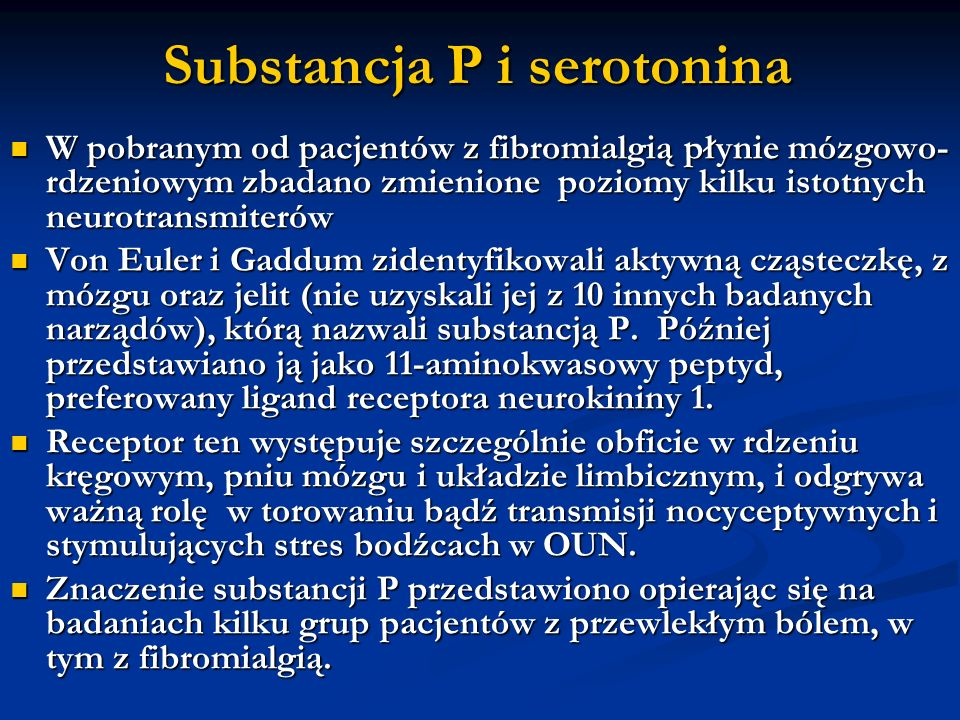 Substancja P i serotonina