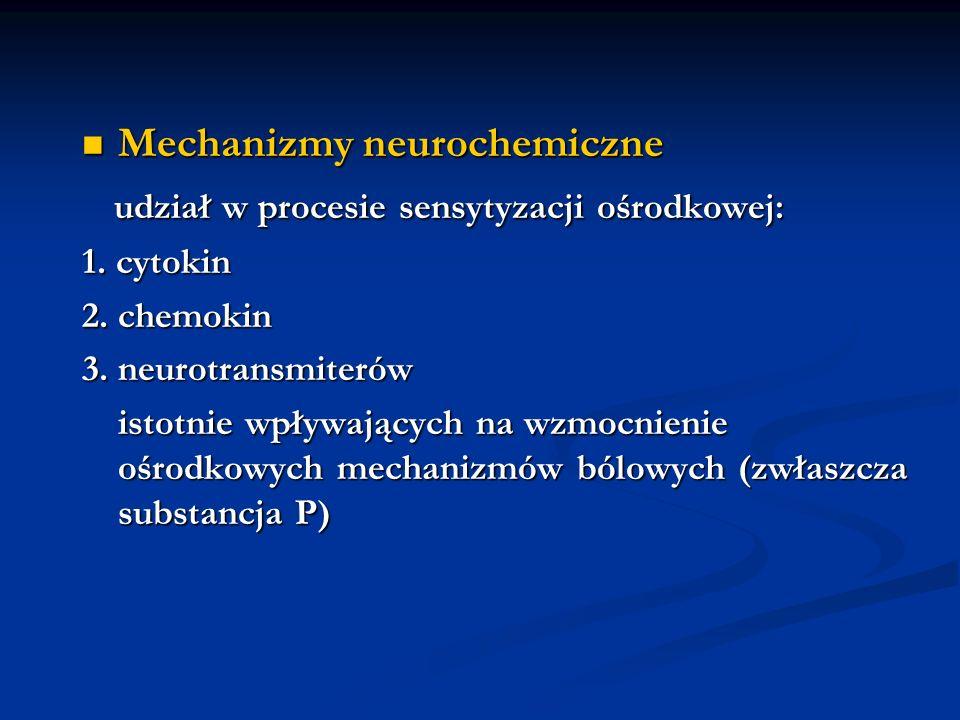 Mechanizmy neurochemiczne udział w procesie sensytyzacji ośrodkowej: