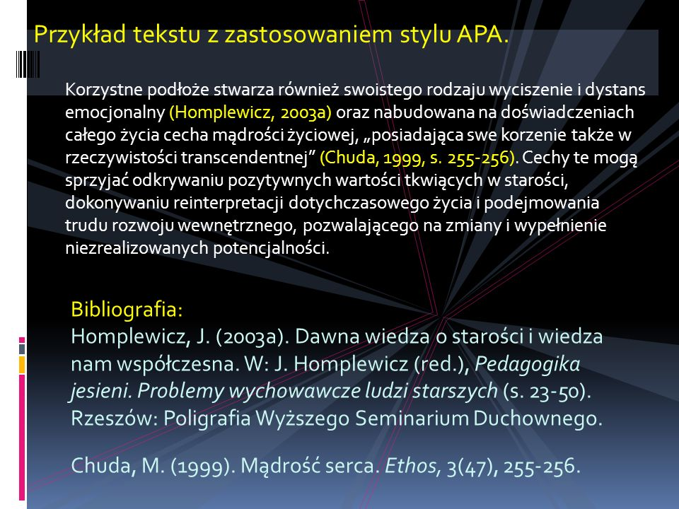 Przykład tekstu z zastosowaniem stylu APA.