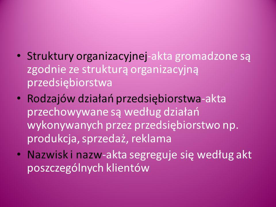 Struktury organizacyjnej-akta gromadzone są zgodnie ze strukturą organizacyjną przedsiębiorstwa
