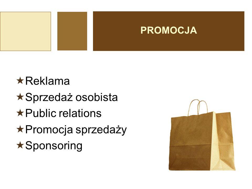 Reklama Sprzedaż osobista Public relations Promocja sprzedaży