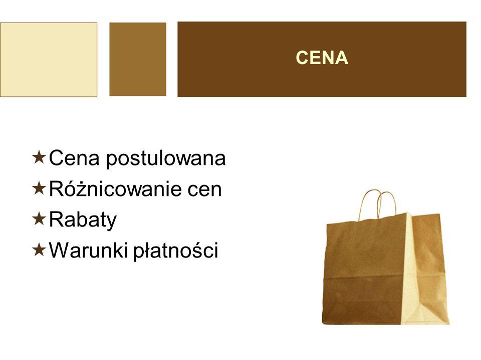 CENA Cena postulowana Różnicowanie cen Rabaty Warunki płatności
