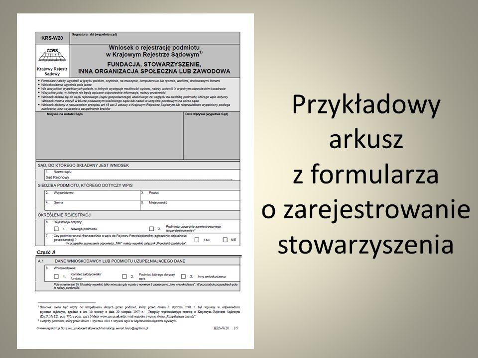 Przykładowy arkusz z formularza o zarejestrowanie stowarzyszenia