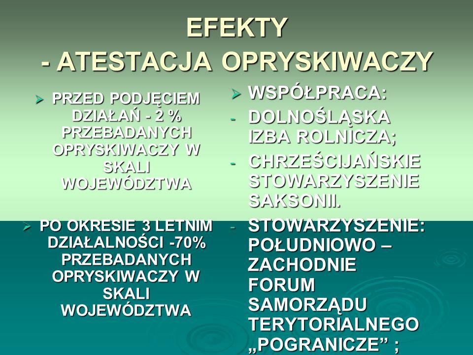 EFEKTY - ATESTACJA OPRYSKIWACZY