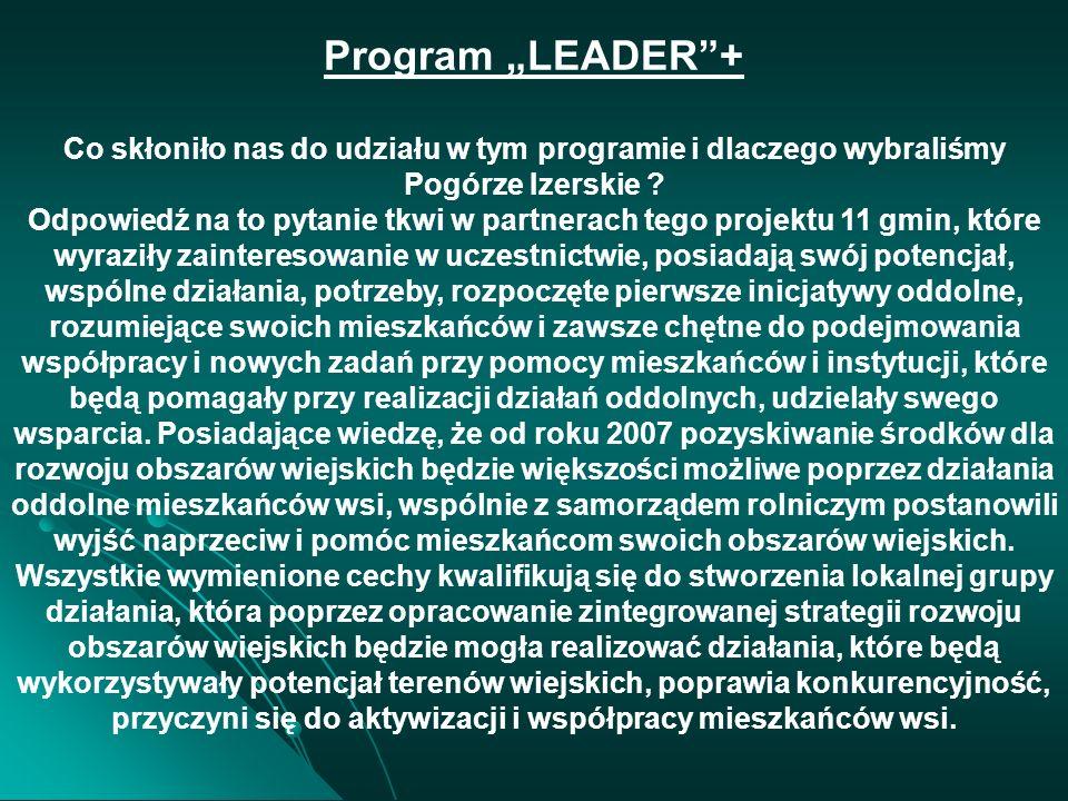 """Program """"LEADER + Co skłoniło nas do udziału w tym programie i dlaczego wybraliśmy Pogórze Izerskie"""