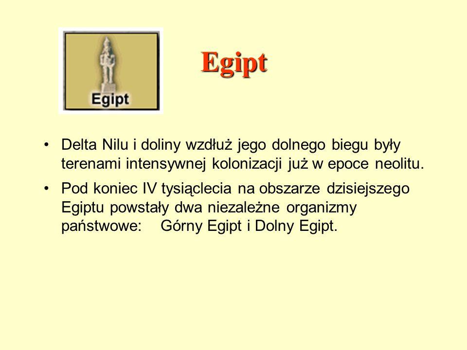 EgiptDelta Nilu i doliny wzdłuż jego dolnego biegu były terenami intensywnej kolonizacji już w epoce neolitu.