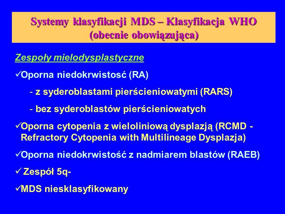 Systemy klasyfikacji MDS – Klasyfikacja WHO (obecnie obowiązująca)