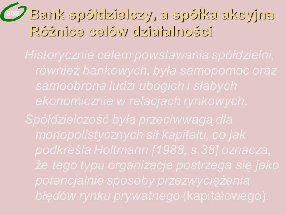 Bank spółdzielczy, a spółka akcyjna Różnice celów działalności