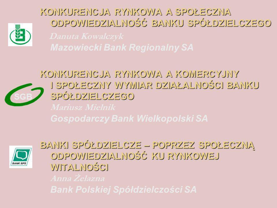 KONKURENCJA RYNKOWA A SPOŁECZNA ODPOWIEDZIALNOŚĆ BANKU SPÓŁDZIELCZEGO