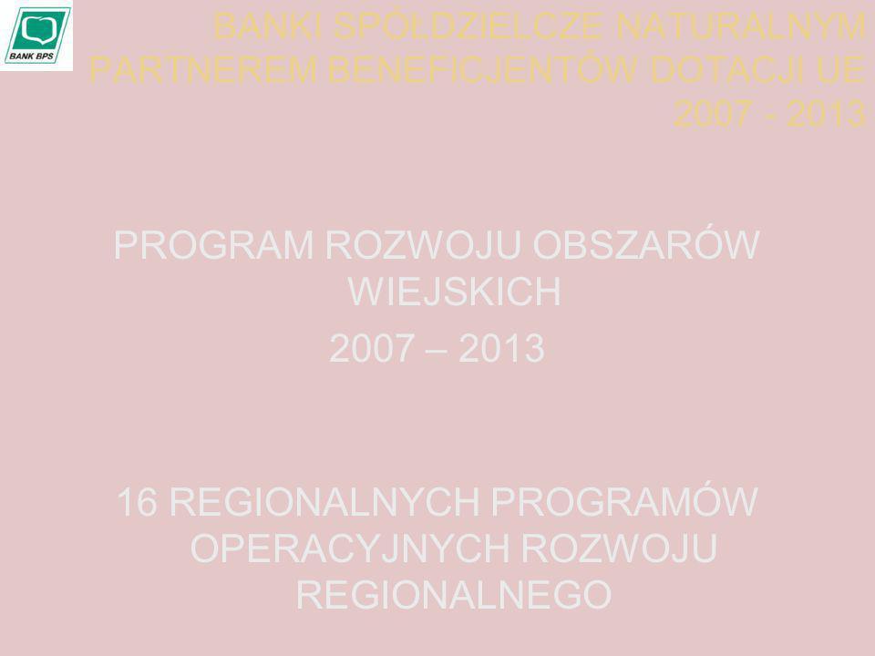 PROGRAM ROZWOJU OBSZARÓW WIEJSKICH 2007 – 2013