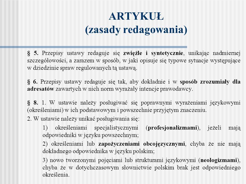 ARTYKUŁ (zasady redagowania)
