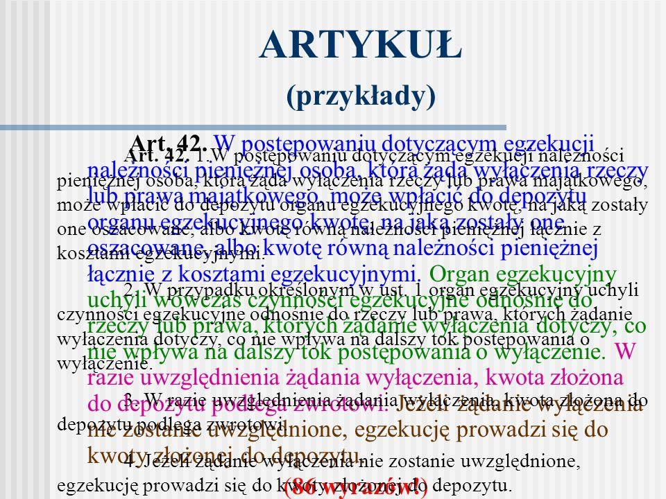 ARTYKUŁ (przykłady) (86 wyrazów!)