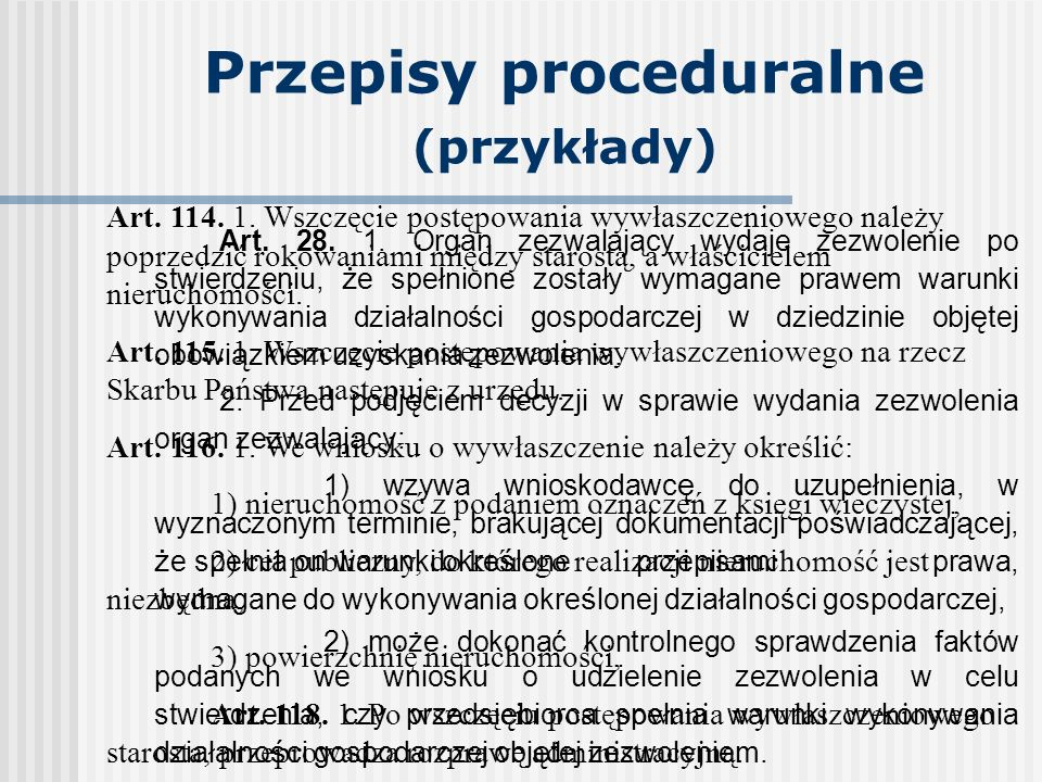 Przepisy proceduralne (przykłady)