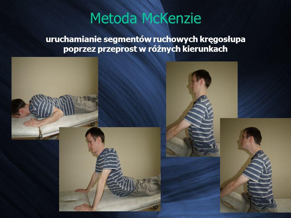 Metoda McKenzie uruchamianie segmentów ruchowych kręgosłupa poprzez przeprost w różnych kierunkach