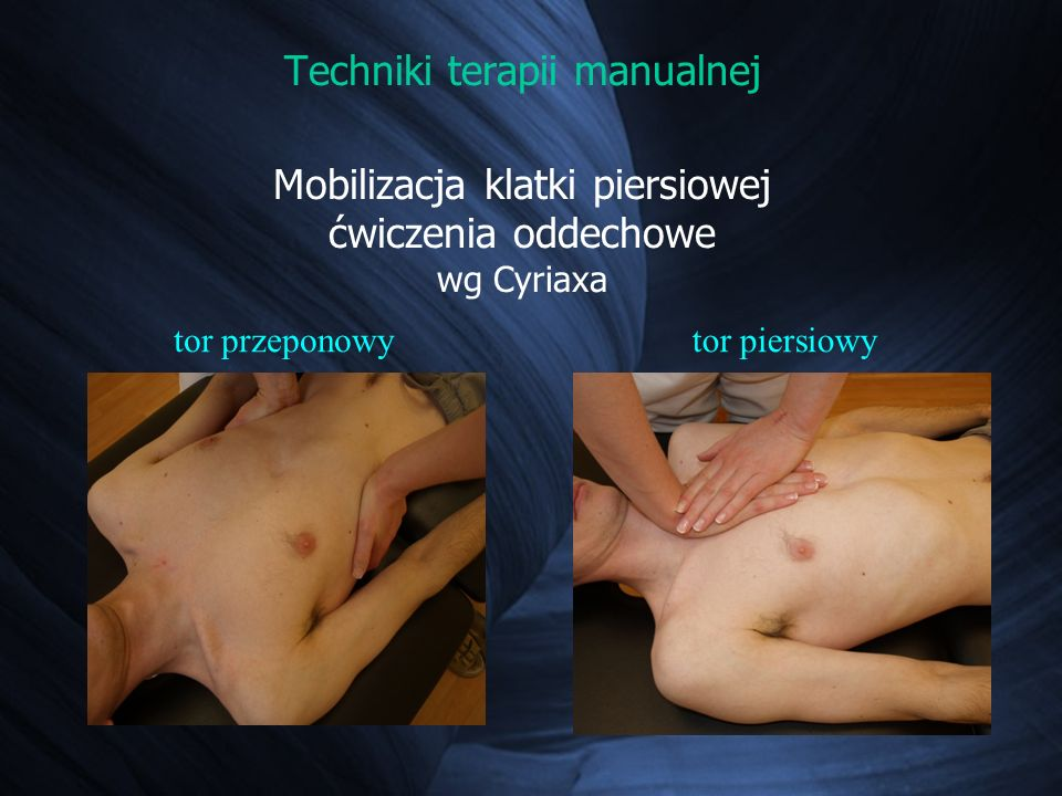 Techniki terapii manualnej Mobilizacja klatki piersiowej ćwiczenia oddechowe wg Cyriaxa
