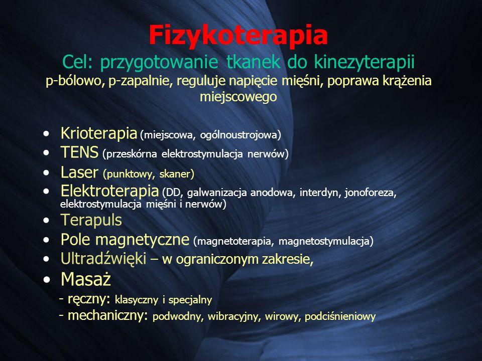 Fizykoterapia Cel: przygotowanie tkanek do kinezyterapii p-bólowo, p-zapalnie, reguluje napięcie mięśni, poprawa krążenia miejscowego