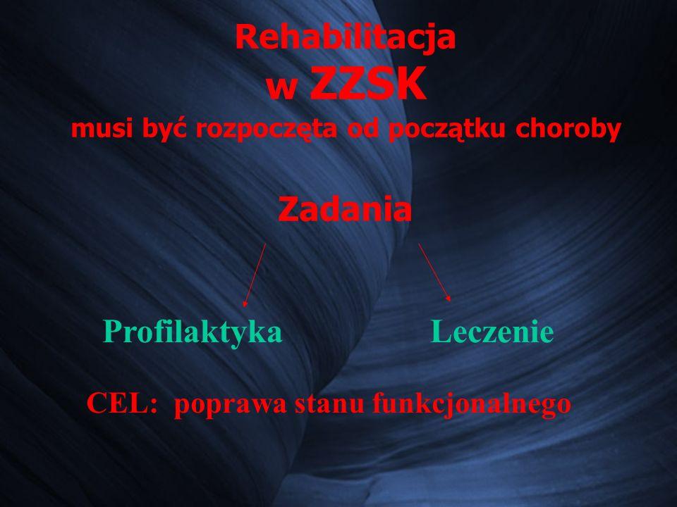 Rehabilitacja w ZZSK musi być rozpoczęta od początku choroby Zadania