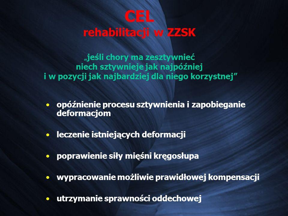 """CEL rehabilitacji w ZZSK """"jeśli chory ma zesztywnieć niech sztywnieje jak najpóźniej i w pozycji jak najbardziej dla niego korzystnej"""