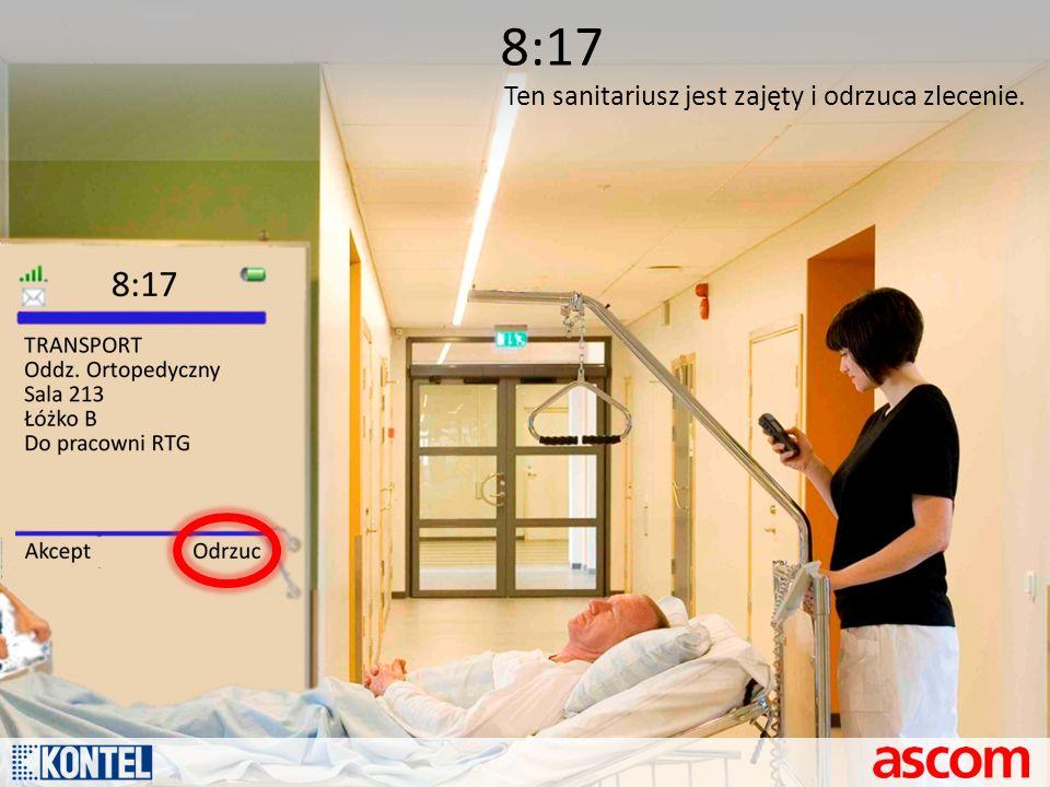 8:17 Ten sanitariusz jest zajęty i odrzuca zlecenie.