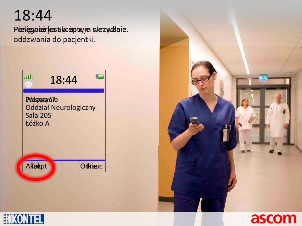 18:44 Ponieważ jest w innym skrzydle oddzwania do pacjentki.