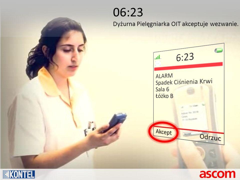 06:23 Dyżurna Pielęgniarka OIT akceptuje wezwanie.