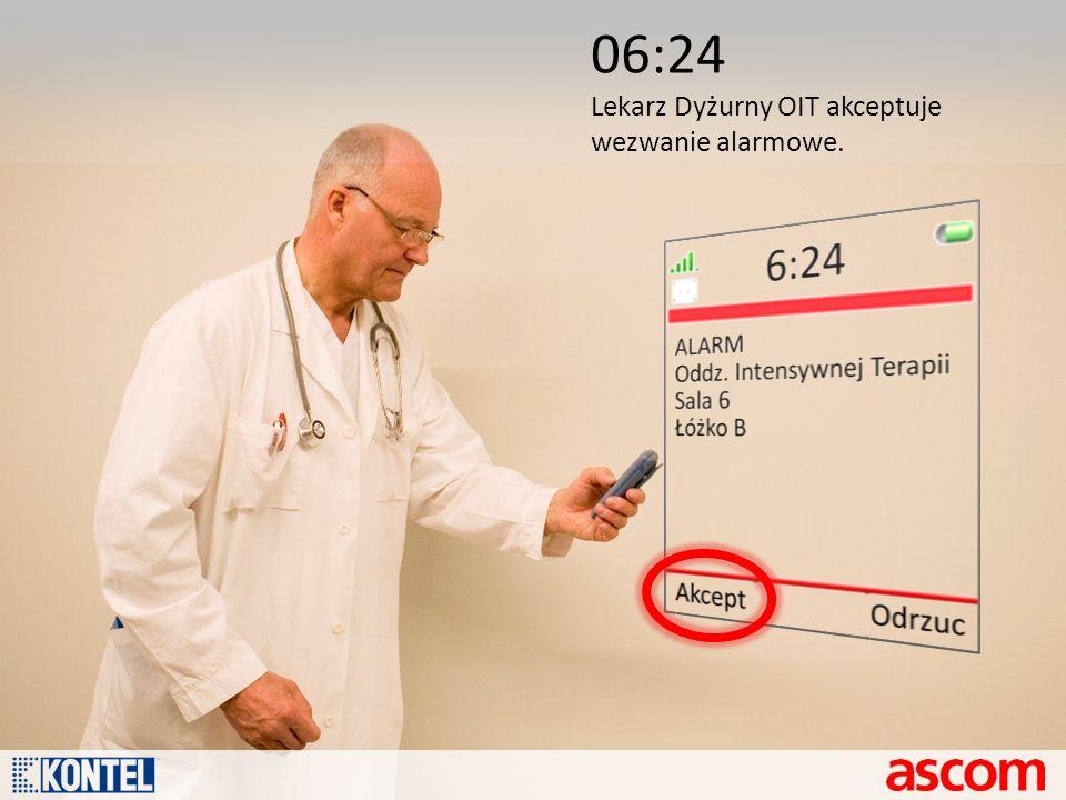 06:24 Lekarz Dyżurny OIT akceptuje wezwanie alarmowe.