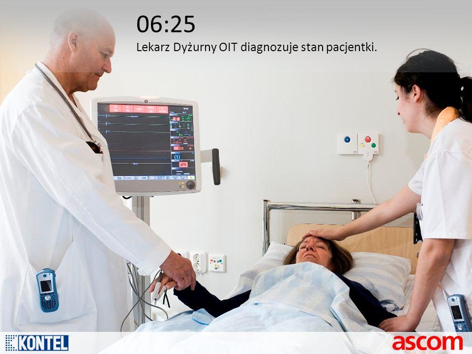 06:25 Lekarz Dyżurny OIT diagnozuje stan pacjentki.